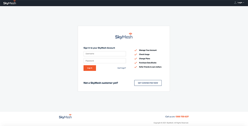 Login screen view for the new online account management tool