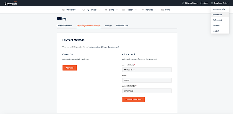 Where to find the password change function in the new online account management tool