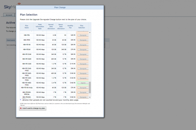 Screenshot of the place to upgrade or downgrade your plan in the SkyMesh online account for customers