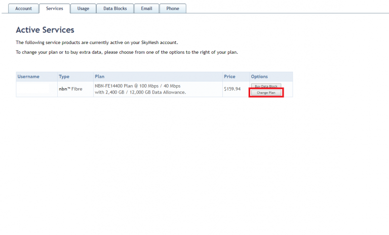 Screenshot of the place to change your plan in the SkyMesh online account for customers