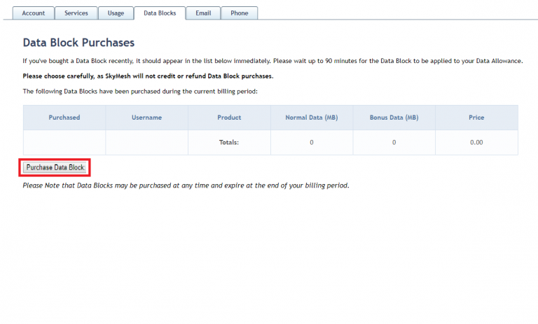 Screenshot of the place to purchase more data in the SkyMesh online account for customers