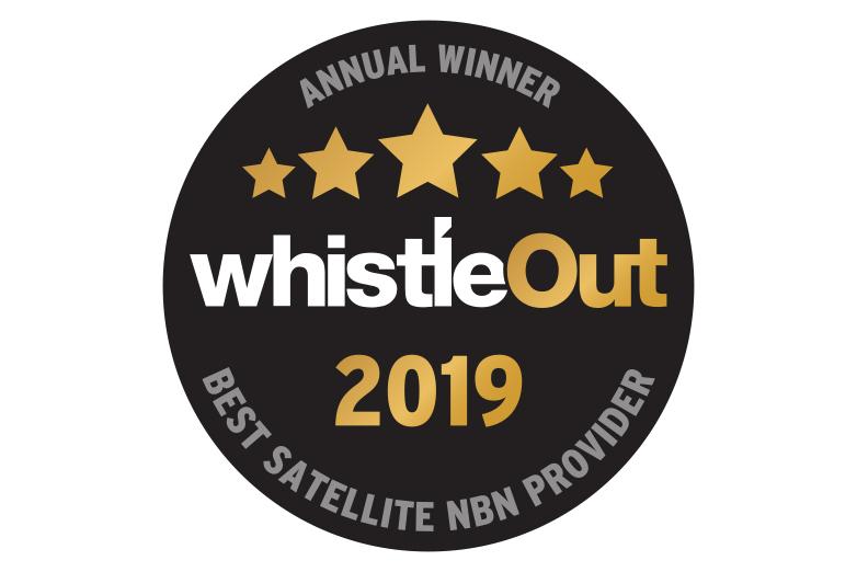 text in black circle - annual winner whistleout award 2019 best satellite nbn provider