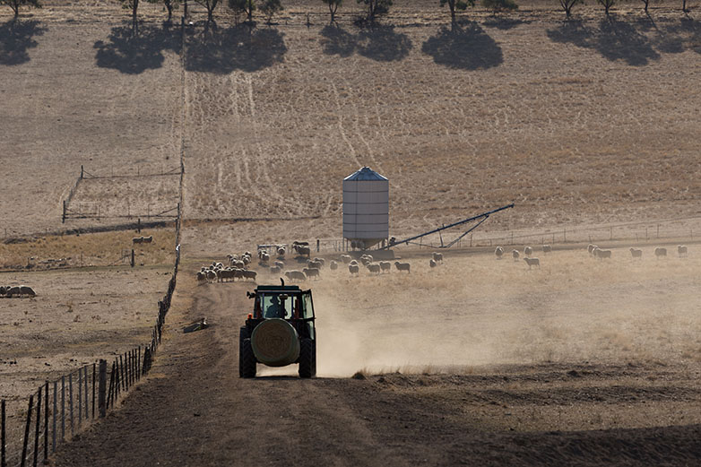 Australian farm in drought with tractor