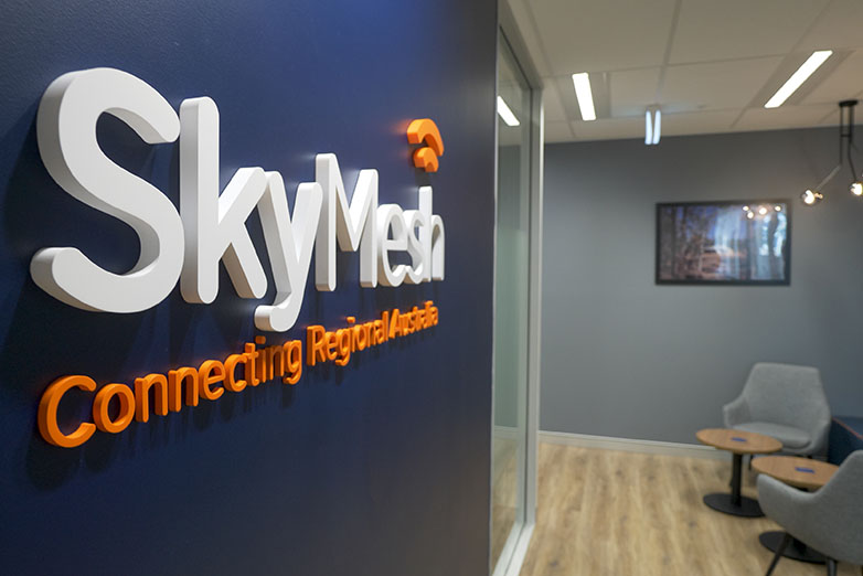 SkyMesh office sign inside on boardroom wall