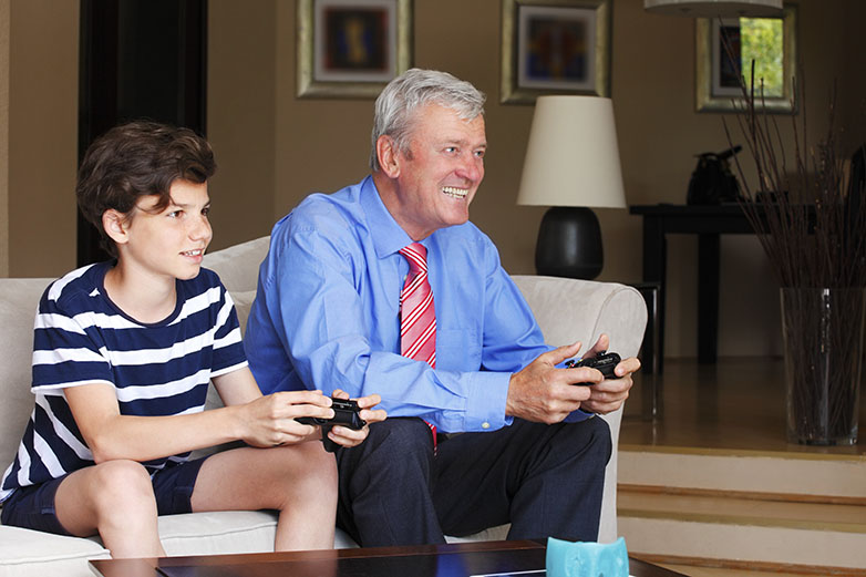 Father and son online gaming