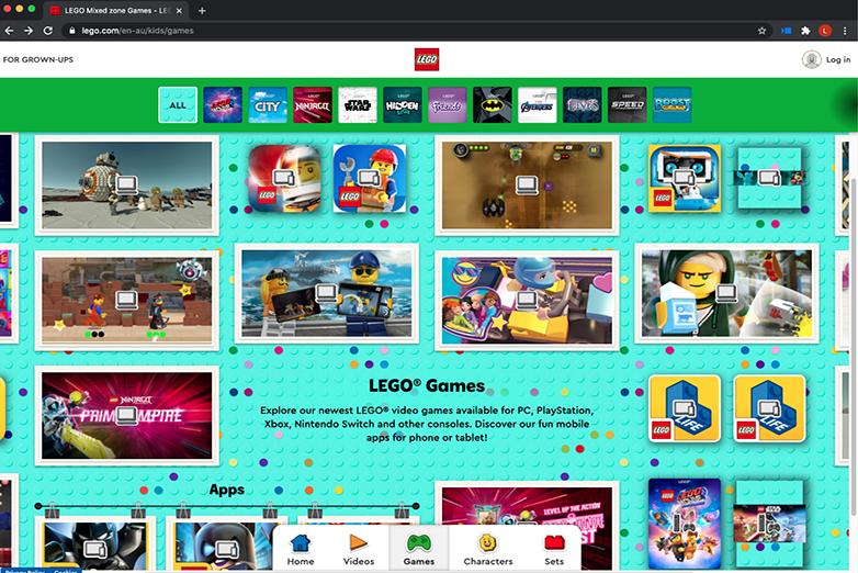 Lego Play Zone website
