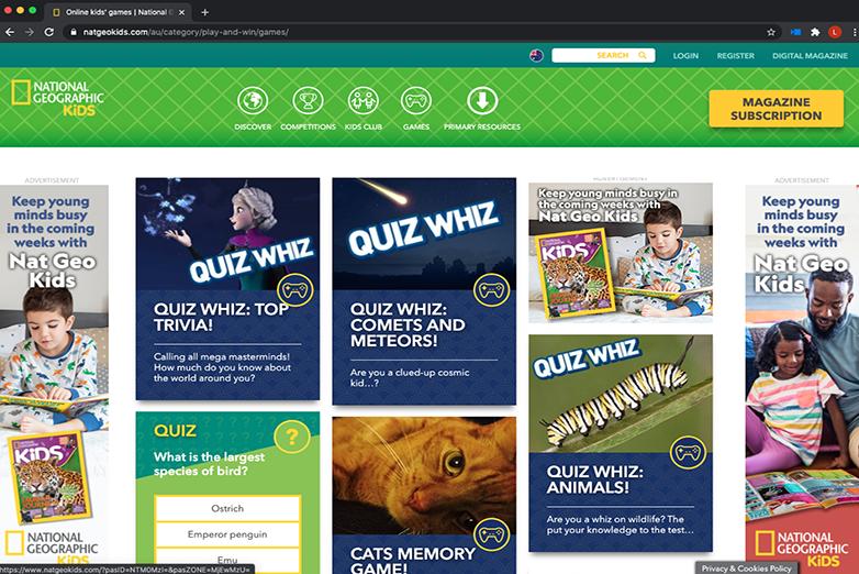 Nat Geo Kids website