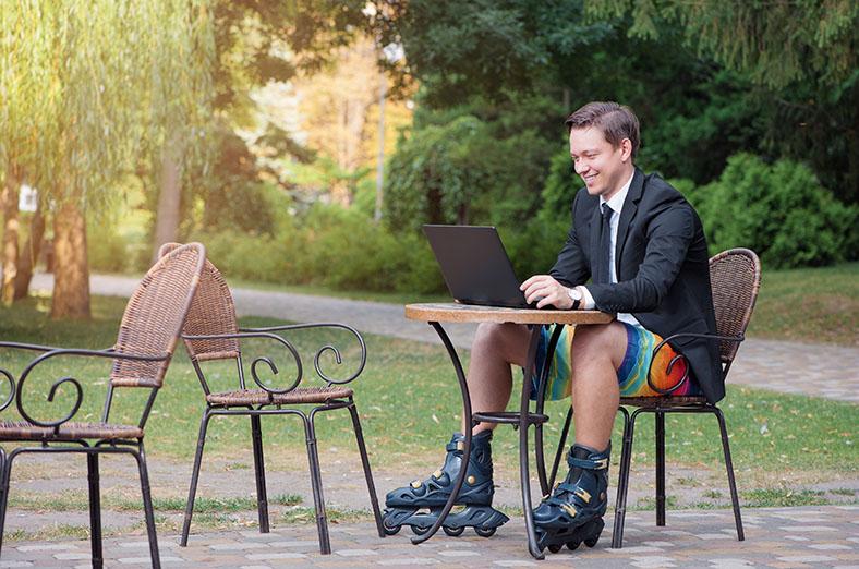 rural man meeting online outdoors