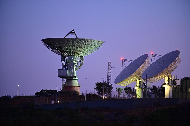 Ground station satellites at night