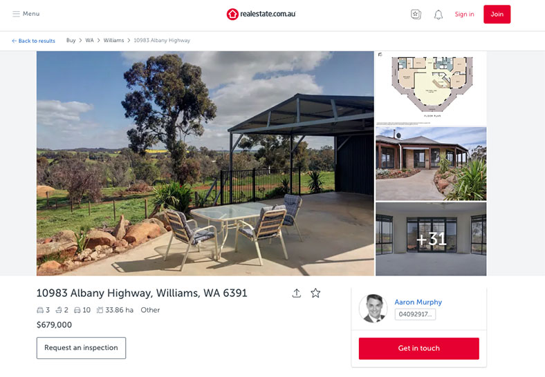 House for sale in Williams with Sky Muster available