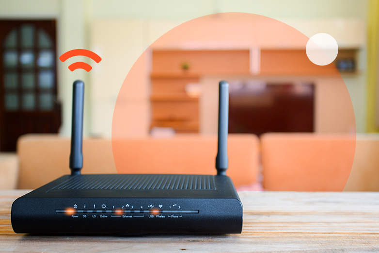 Image of a router on a table in a private residence with SkyMesh branding overlaid on the image