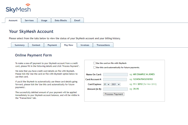 Screenshot of the Pay Now function in the SkyMesh online account for customers