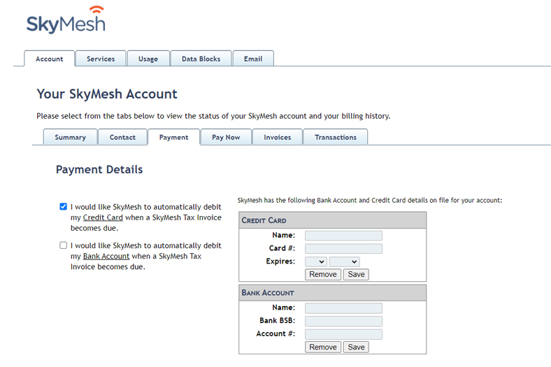 Screenshot of the fields to update your payment details in the SkyMesh online account for customers