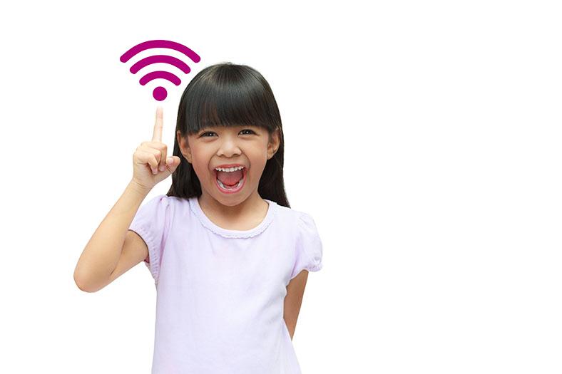 Little girl showcasing the wifi symbol
