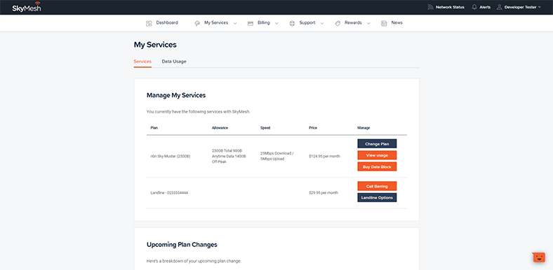 View of how to buy a data block in the new online account management tool
