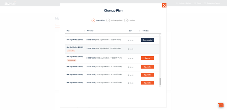 View of how to change plans in the new online account management tool