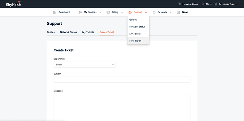 View of how to create a ticket in the new online account management tool