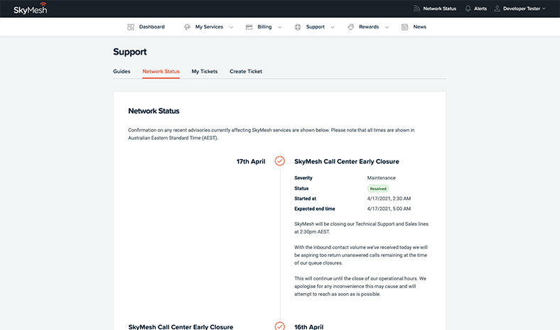 Network status view in the new online account management tool
