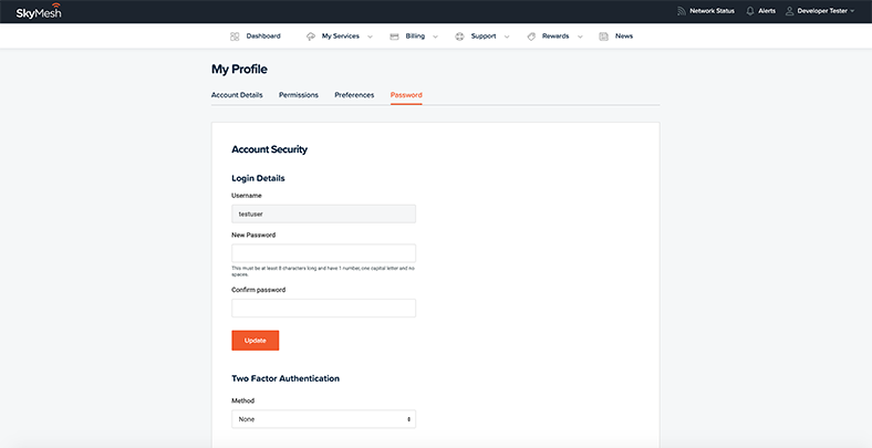 View of password change function in new online account management tool
