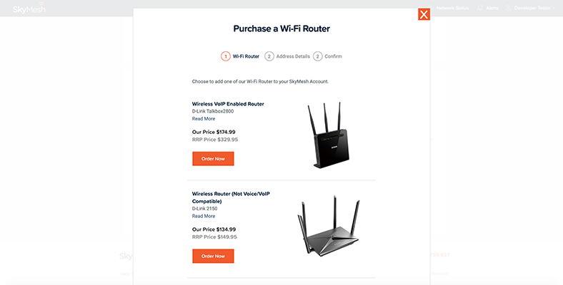View of how to buy a router in the new online account management tool